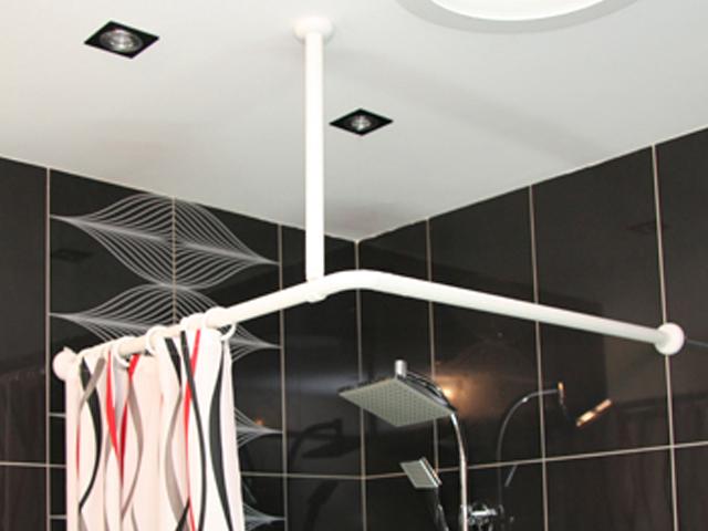 duschvorhang stange oval in wei eckbadewanne viertelkreis neu 2 teilig ebay. Black Bedroom Furniture Sets. Home Design Ideas