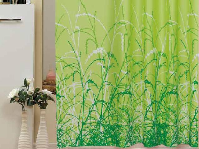 textil duschvorhang 240x200 cm gr ner garten farbe gr n weiss ringe polyester ebay. Black Bedroom Furniture Sets. Home Design Ideas