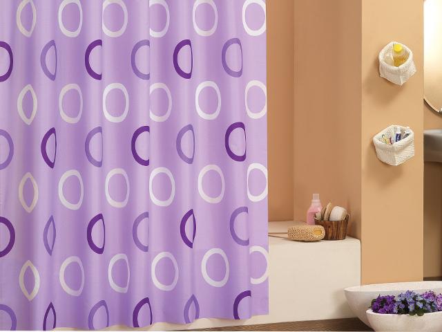 edler textil duschvorhang 180 x 200 cm lila oder gr n mit kreisen inkl ringe. Black Bedroom Furniture Sets. Home Design Ideas