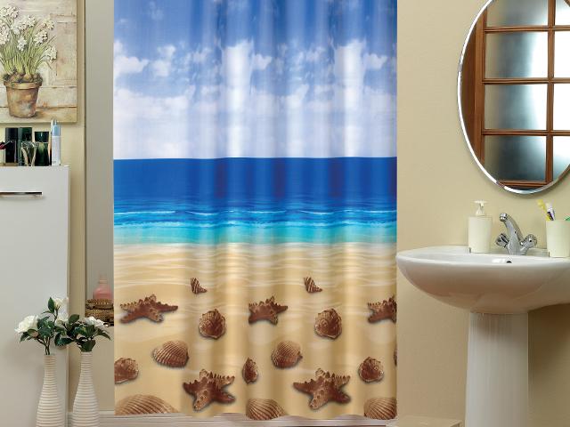 textil duschvorhang 220x200cm seesterne muscheln am strand meer inkl ringe ebay. Black Bedroom Furniture Sets. Home Design Ideas