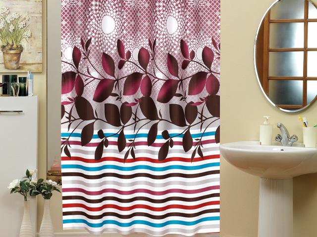 "Textil Duschvorhang 240 X 200 Cm ""Bordeaux Ranke"" Inkl"