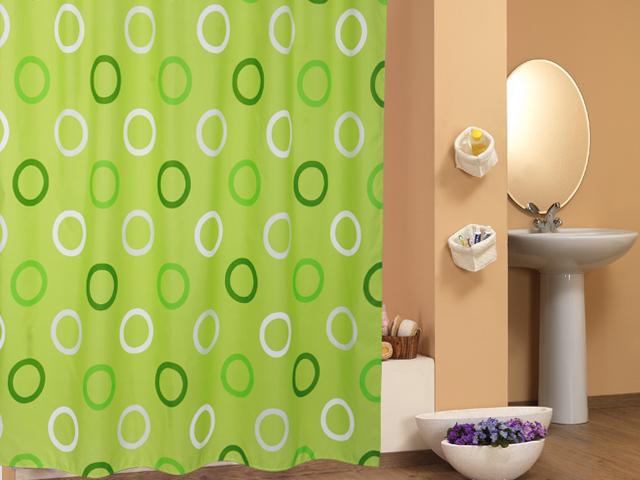 polyester textil duschvorhang h b 180 x 200 cm gr n mit kreisen inkl ringe ebay. Black Bedroom Furniture Sets. Home Design Ideas