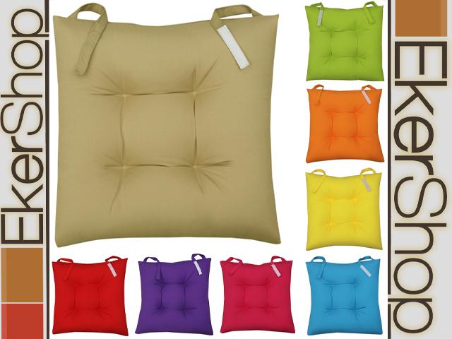sitzkissen stuhl garten k che kissen stuhlkissen klettverschluss 40x40 klettband ebay. Black Bedroom Furniture Sets. Home Design Ideas